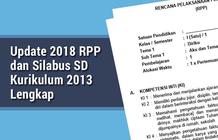 Update 2018 RPP dan Silabus SD Kurikulum 2013 Lengkap