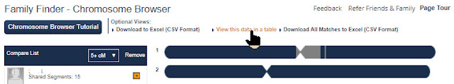 view chromosome browser in table