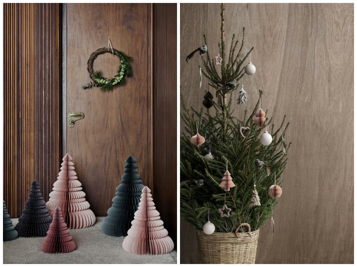 Navidad sencilla con adornos de papel y un toque de color inesperado ministry of deco - Adornos navidad de papel ...