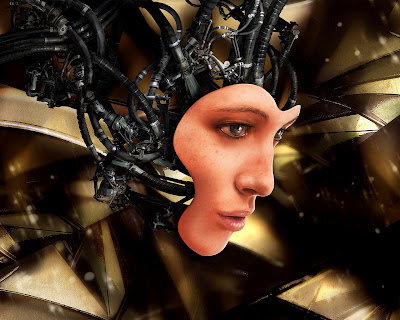 Robotic woman face