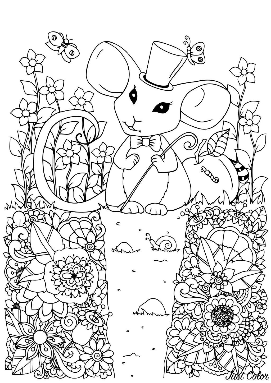 Tranh tô màu con chuột và những bông hoa