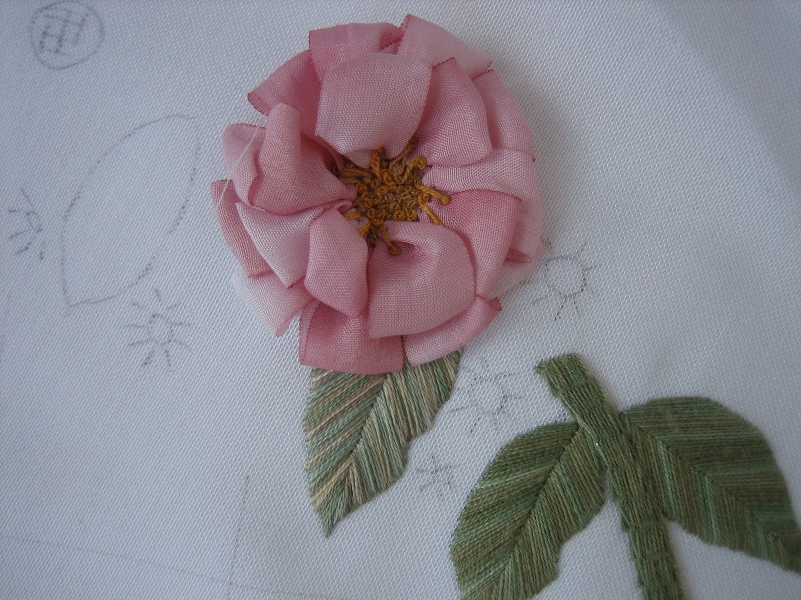 My hands work silk ribbon embroidery