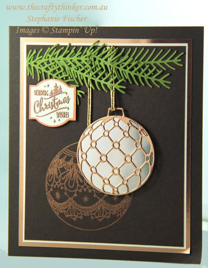 #thecraftythinker  #stampinup  #christmascard  #beautifulbaubles  #cardmaking , Christmas card, Beautiful Baubles Bundle, Xmas card, Stampin' Up Australia Demonstrator, Stephanie Fischer, Sydney NSW