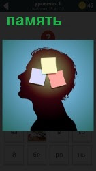 в человеческой голове показаны заметки в качестве хранения памяти
