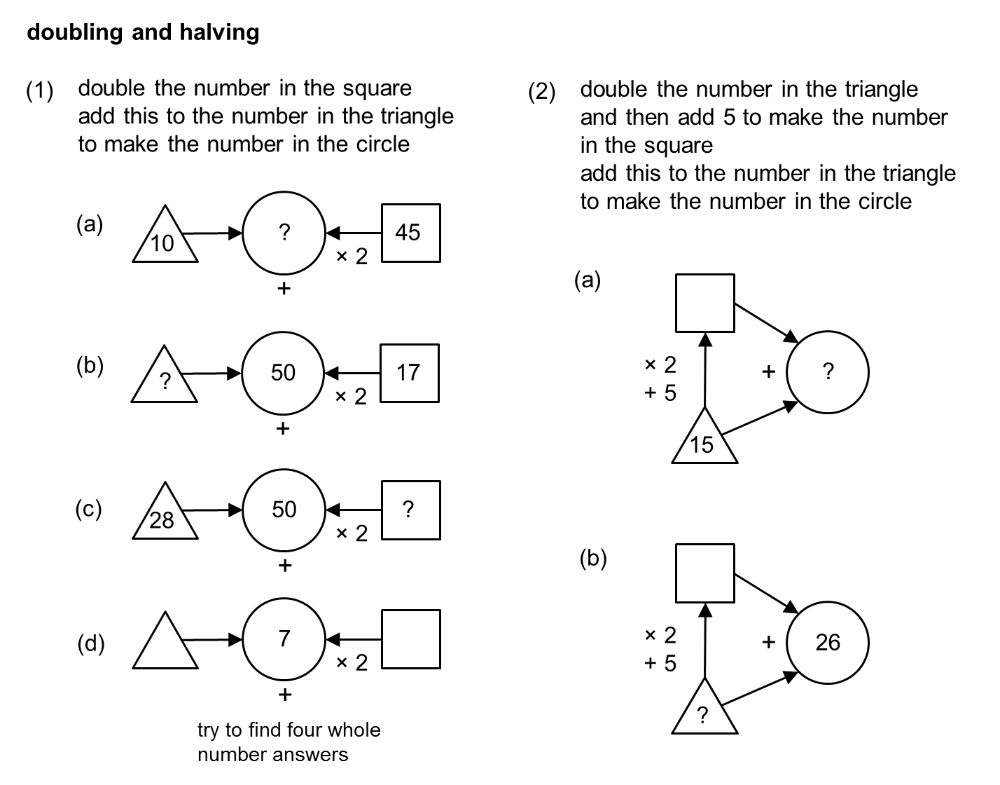 worksheet Doubling And Halving Decimals Worksheets Year 5 median don steward mathematics teaching doubling and halving