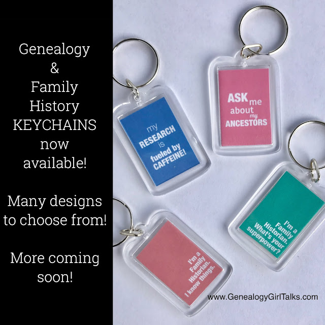 Genealogy & Family History Keychains by Genealogy Girl Talks