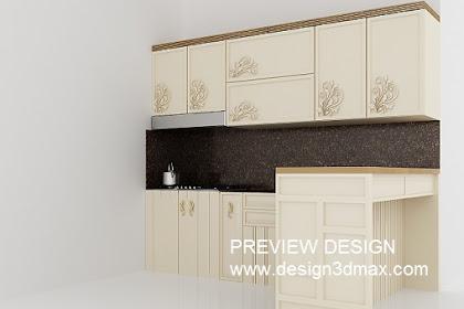 Jasa desain interior dapur kitchen set cantik unik semi klasik