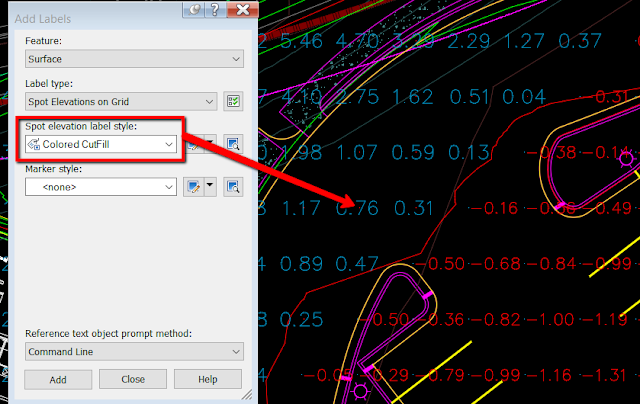 Use label style to labe a surface in Civil 3D!