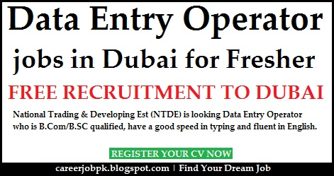 Data Entry jobs in Dubai for Freshers