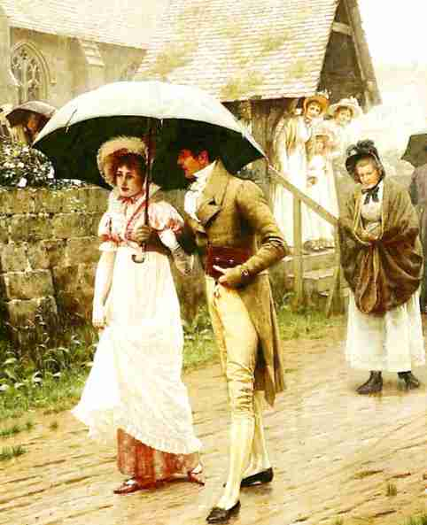 A Wet Sunday Morning - Edmund B. Leighton (1896)