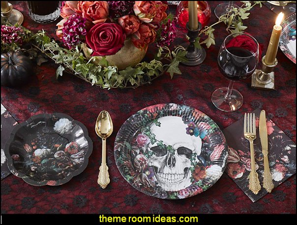 Day Of The Dead Baroque Paper Plates  Gothic kitchen decor - gothic kitchenware - gothic dinnerware - skulls kitchen decorations - bat kitchen decor  dracula  vampires - Halloween kitchen decorating - skeletons kitchen decor -  zombie kitchen stuff - Gothic home decor - Gothic wall decor