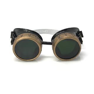 Steampunk goggles with compass design and colored lenses