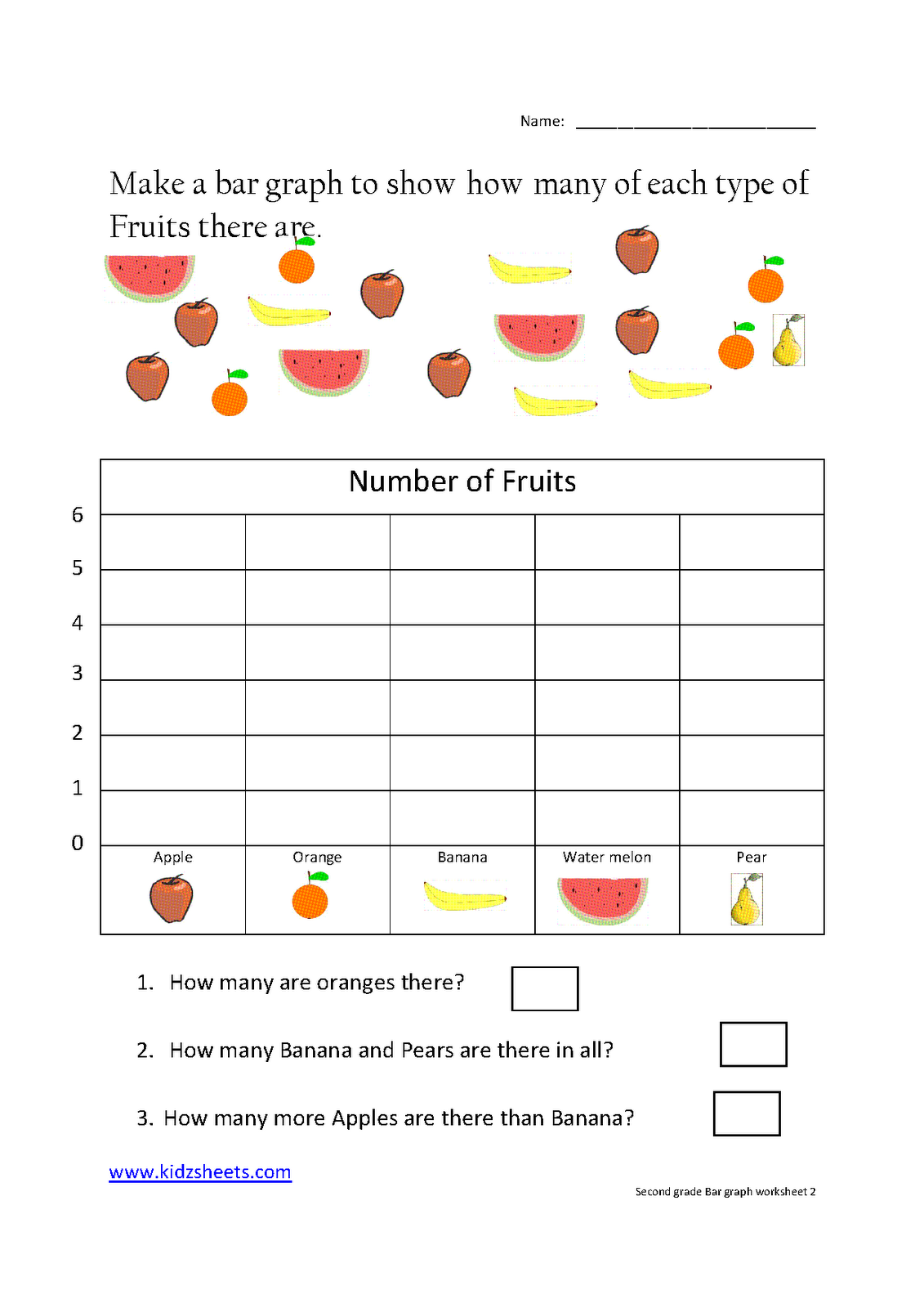 medium resolution of Kidz Worksheets: Second Grade Bar Graph Worksheet2