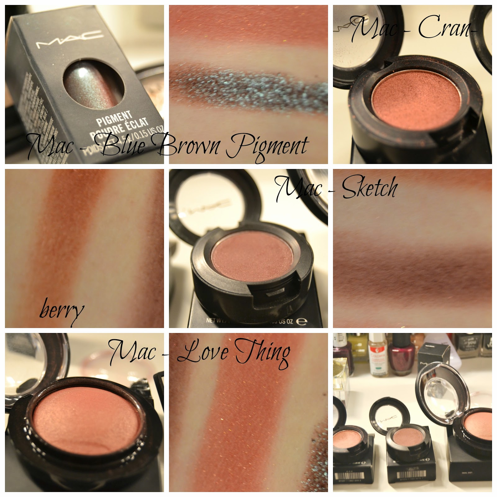 Mac Blue Brown Pigment Mac Cranberry Sketch Love Thing Mineralize Blush Eyeshadow Swatch Dupe