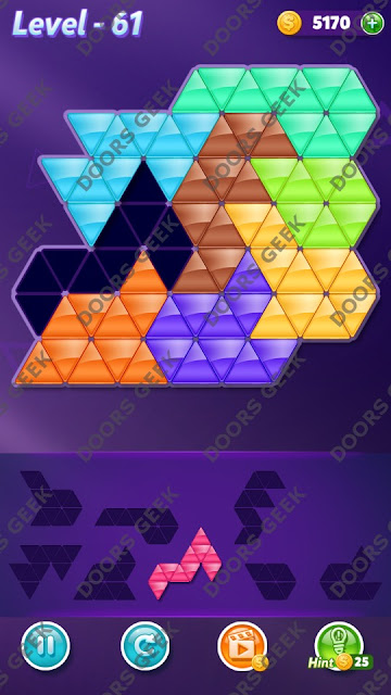 Block! Triangle Puzzle 8 Mania Level 61 Solution, Cheats, Walkthrough for Android, iPhone, iPad and iPod