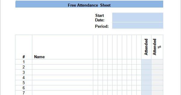 sample attendance calendar template 9 free documents 2017 - attendance calendar template