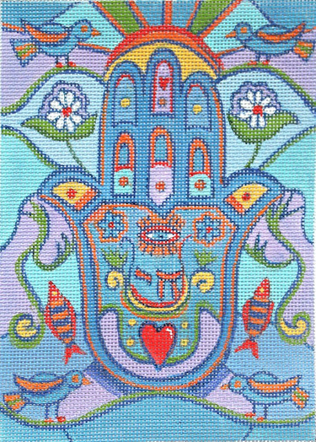 Colourful hamsa needlepoint canvas handpainted by Marcia Steinbock