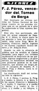 Recorte de prensa del II (IV) Torneo Nacional de Ajedrez Berga 1954