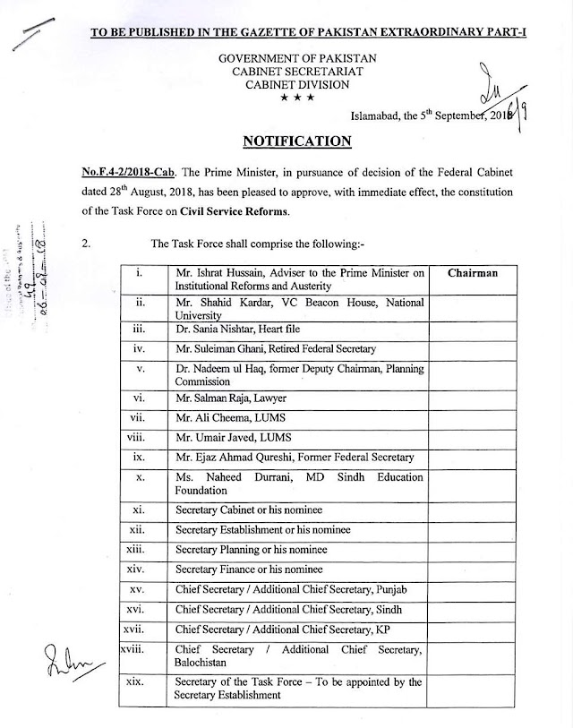 NOTIFICATION REGARDING CONSTITUTION OF TASK FORCE OF CIVIL SERVICE REFORMS