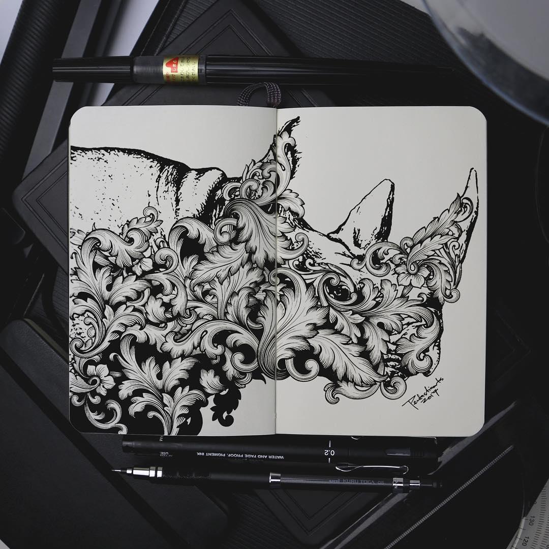 10-Rhino-Joseph-Catimbang-Doodle-Drawings-make-the-World-go-Round-www-designstack-co