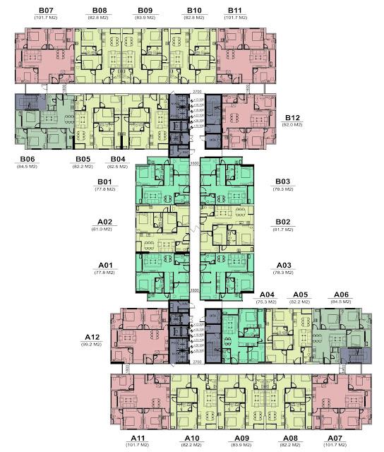 Mặt bằng thiết kế tầng 10 đến 22