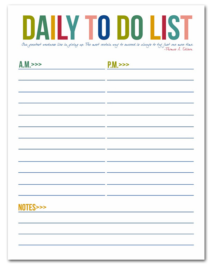 printable daily to do list for work