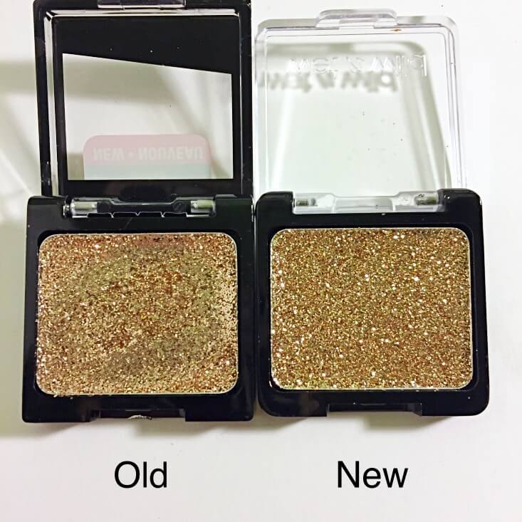 wet n wild coloricon Glitter Single old vs new Brass