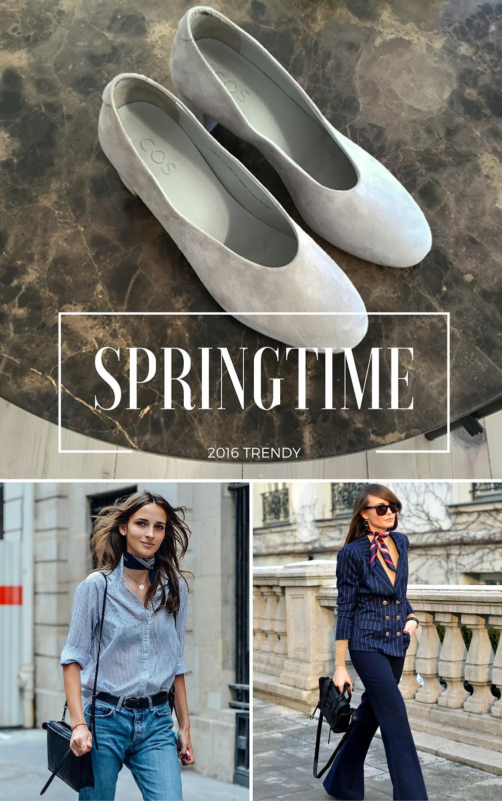trendy wiosna | porady | chustka | apaszka | baleriny na obcasie