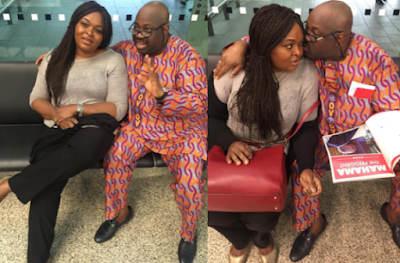 Dele Momodu pictured with his wife & sons in Heathrow Airpor London