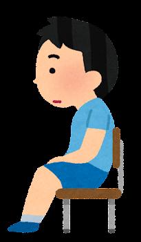姿勢の悪い椅子に座る男の子のイラスト