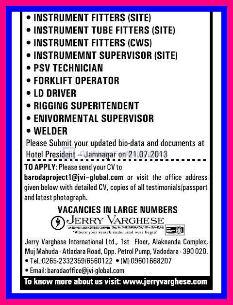 Large Gulf Job Vacancies Jerry Varghese Gulf Jobs For