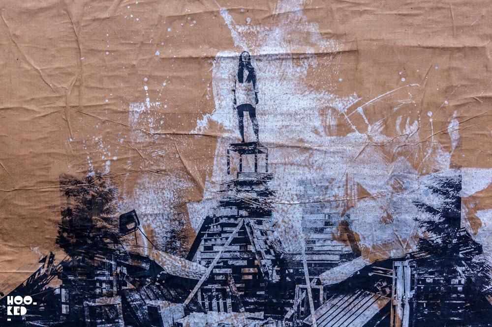 Street artist Donk's large scale work in Hackney Wick, London.