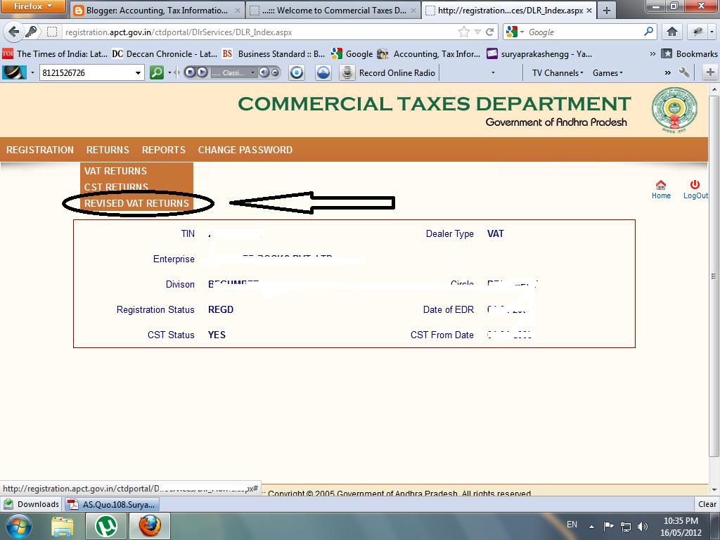 Revised Andhra Pradesh Commercial Tax VAT Returns - https