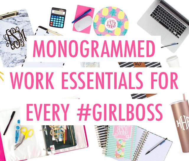 monogrammed desk items