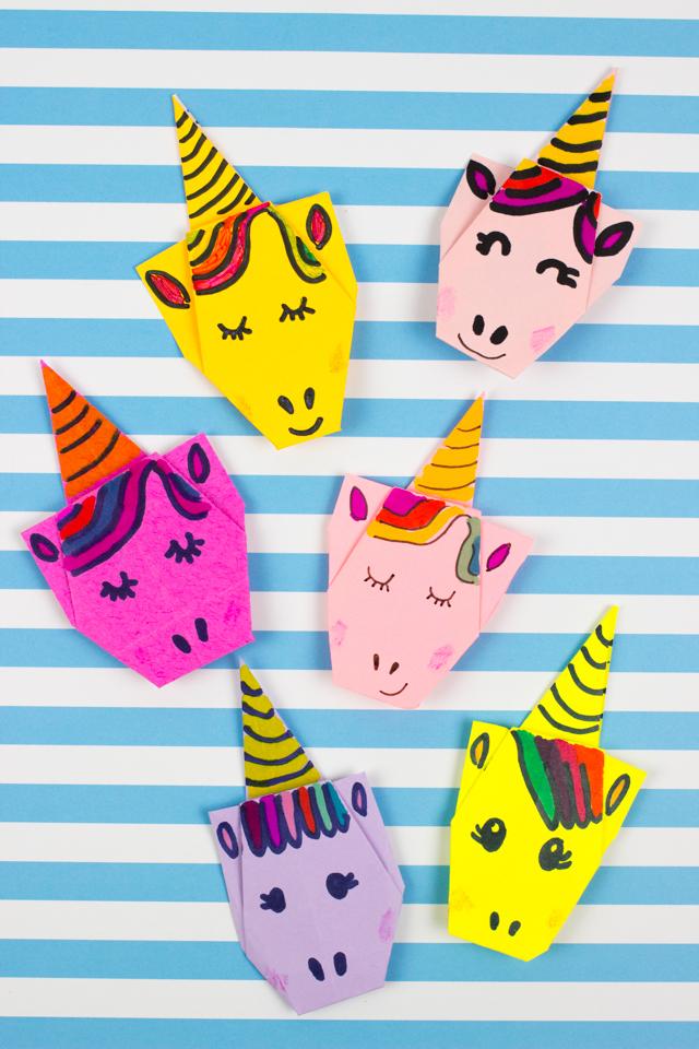 Super Cute Origami Unicorns Pink Stripey Socks