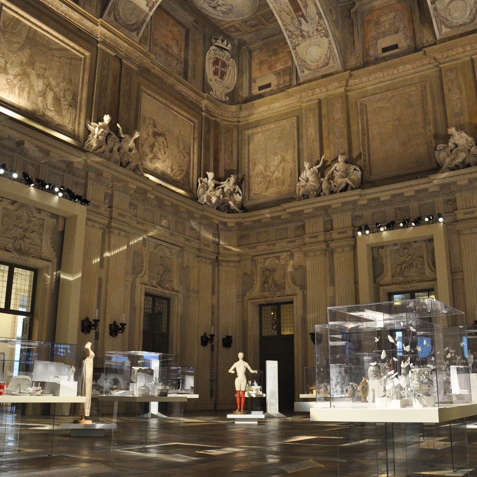 An exhibition in the ball room, First floor, Palazzo Madama, Turin, Italy