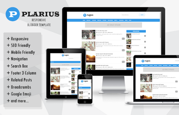 Plarius Responsive Simple Blogger Template