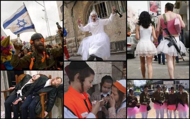 احتفال المتطرفين اليهود بعيد المساخر والافراط في شرب الخمر شاهد ماذا يفعلون !!