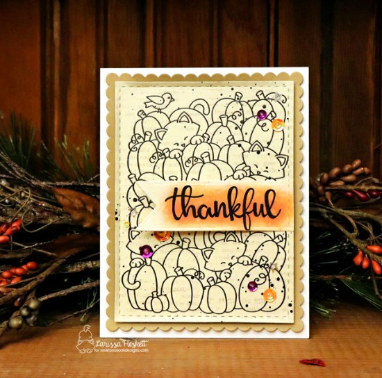 Thankful Fall Kitty Card by Larissa Heskett | Newton's Pumpkin Patch  and Thankful Thoughts Stamp Sets by Newton's Nook Designs #newtonsnook #handmade