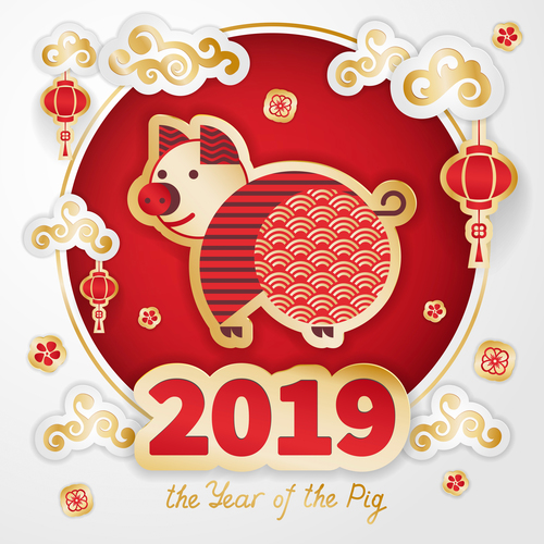 2019 the year of the pig design free vector file