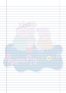 Folha Papel Pautado Peppa Pig World PDF para imprimir na folha A4