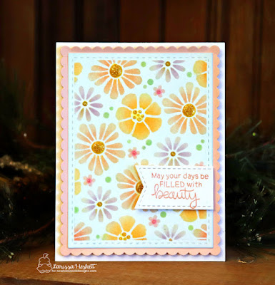 Filled With Beauty by Larissa Heskett     Newton's Nook Designs Products used Bold Blooms Stencil, Loads of Blooms Stamp Set, Frames & Flags Die Set, Therm O Web, Deco Foil Transfer Gel, Nuvo Glitter Pen, Nuvo Glitter Drops, Distress Inks