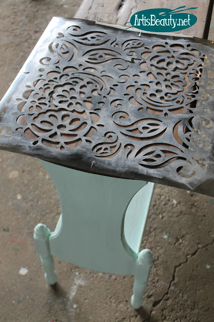 paisley stencil diy side table stencilled makeover before and after dumpster dive roadside rescue