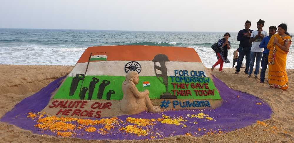Tearful tribute to the martyrs  by famous sand artist Manas Kumar Sahoo