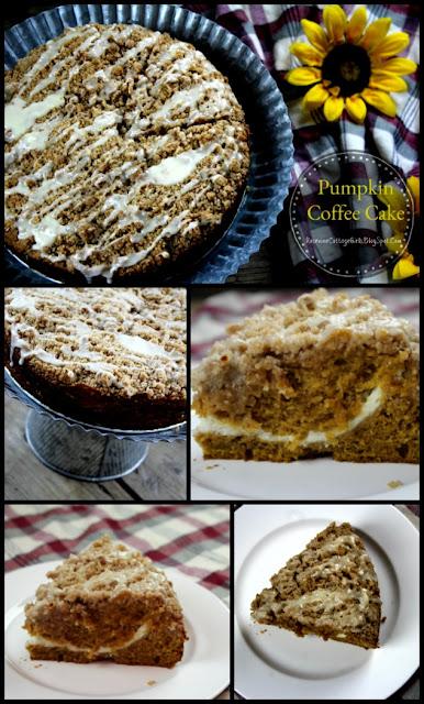 pumpkin coffee cake, pumpkin cream cheese coffee cake, iced pumpkin coffee cake recipe by rosevine Cottage Girls