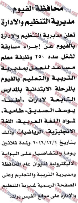 الاعلان الرسمي لوظائف التربية والتعليم تطلب 250 معلم مساعد والتقديم حتى 30 / 12 / 2016