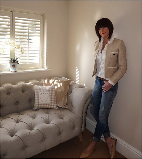 My Midlife Fashion, Marks and Spencer long single string pearls, zara distressed skinny jeans, ghillie lace up flats, mango pocket cotton jacket