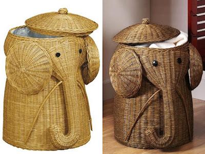 Canasto para ropa en forma de elefante.