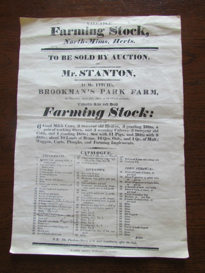 Photograph of an Auction poster for an 1815 sale of North-Mims farming stock