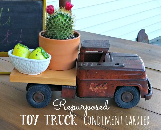 How to repurpose an old toy truck into a condiment carrier for the table!